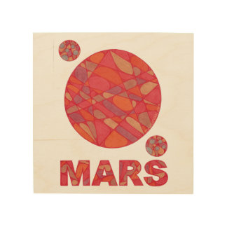 "Mars Art The Red Planet Wood Canvas Print 8"" x 8"""
