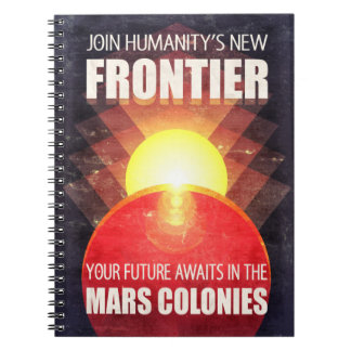 Mars Colonies Propaganda Illustration Spiral Note Books