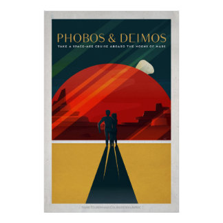 Mars Moons Phobos and Deimos Retro Space Tourism Poster