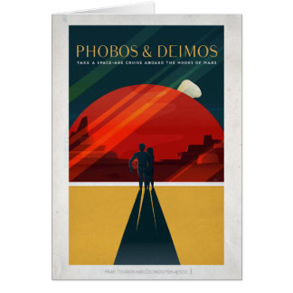 Mars Moons Phobos and Deimos Space Cruise Greeting Card