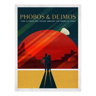 Mars Moons Phobos and Deimos Space Tourist Postcard