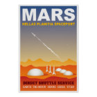 Mars Retro Space Travel Illustration Poster