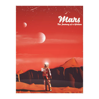 Mars Science fiction vintage travel poster Canvas Print