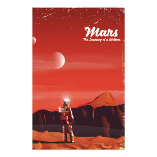 Mars Science fiction vintage travel poster Stationery