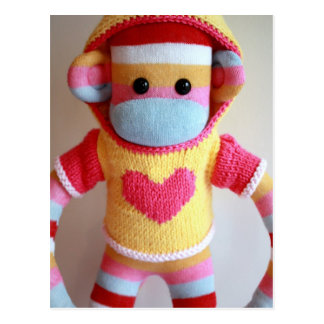 Mars Sock Monkey Post Card - Samantha