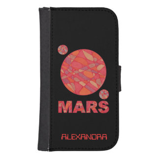 Mars The Red Planet And Moons Geek Fun Custom Galaxy S4 Wallet