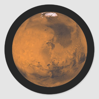 Mars the Red Planet in Outer Space Classic Round Sticker