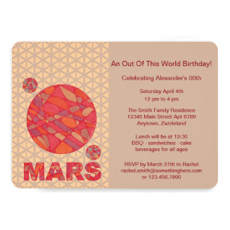 """Mars The Red Planet Space Geek Solar System Fun 5"""" X 7"""" Invitation Card"""