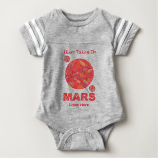 Mars The Red Planet Space Geek Solar System Fun Baby Bodysuit