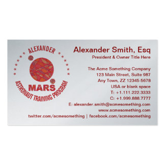 Mars The Red Planet Space Geek Solar System Fun Business Card