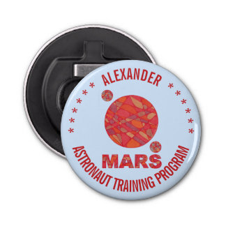 Mars The Red Planet Space Geek Solar System Fun Button Bottle Opener