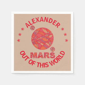 Mars The Red Planet Space Geek Solar System Fun Disposable Napkins