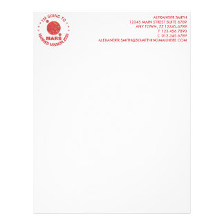Mars The Red Planet Space Geek Solar System Fun Letterhead Template