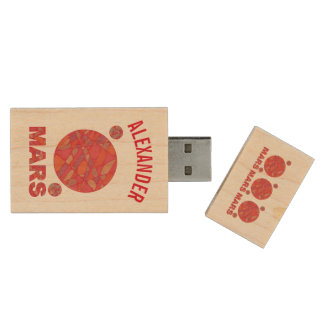 Mars The Red Planet Space Geek Solar System Fun Wood USB 2.0 Flash Drive