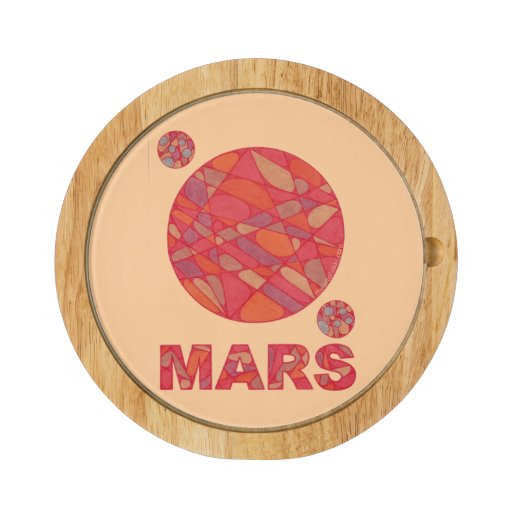 Mars The Red Planet Space Geek Solar System Fun Round Cheeseboard