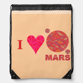 Mars The Red Planet Space Geek Solar System Fun Drawstring Bags