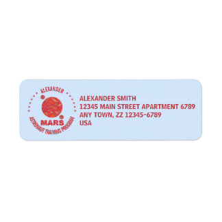 Mars The Red Planet Space Geek Solar System Fun Return Address Label