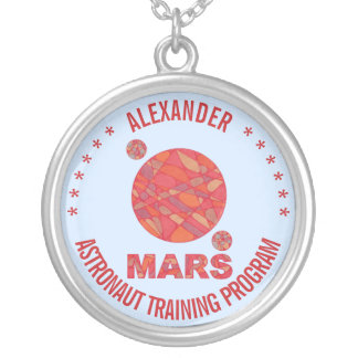 Mars The Red Planet Space Geek Solar System Fun Round Pendant Necklace
