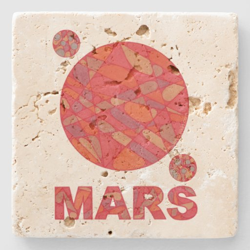 Mars The Red Planet Space Geek Solar System Stone Beverage Coaster