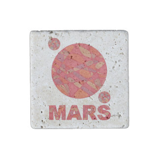 Mars The Red Planet Space Geek Solar System Stone Magnet