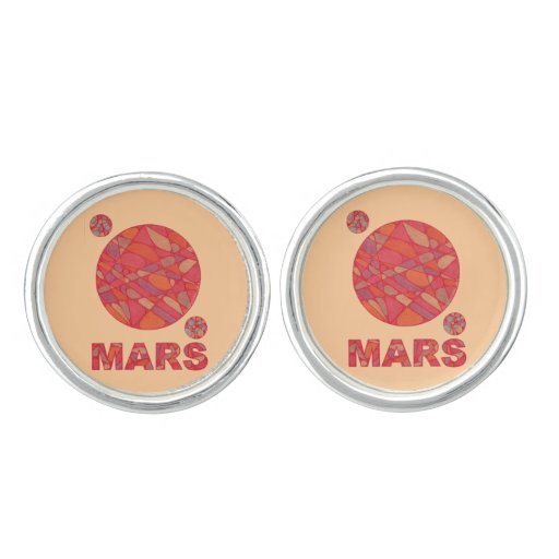 Mars The Red Planet Space Geek Solar System Cufflinks