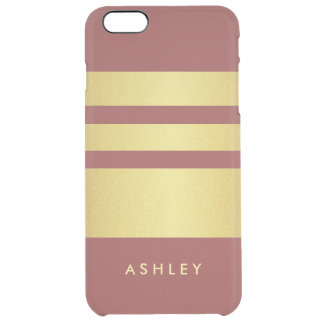 Marsala 2015 Trendy Color Gold Stripes Pattern Clear iPhone 6 Plus Case