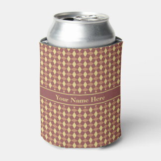 Marsala and Brown Wavy Pattern Can Cooler