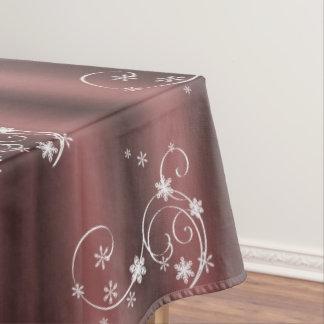 Marsala and White Swirls Christmas Tablecloth