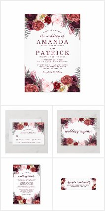 Marsala Blush Peony Burgundy Wedding Collection