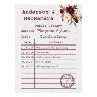 Marsala Boho Library Card Save The Date  