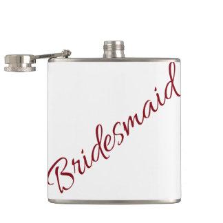 Marsala Bridesmaid Classic Script Hip Flask