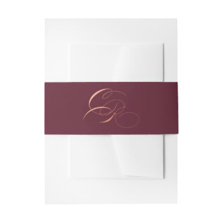 Marsala Burgundy Belly Band Rose Gold Initials Invitation Belly Band