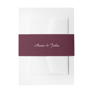 Marsala Burgundy Belly Bands Invitation Belly Band