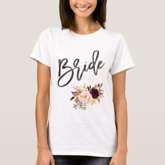 Marsala burgundy Floral bride T-Shirt