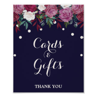 Marsala & Burgundy Floral on Navy Cards & Gifts Poster