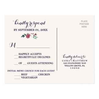 Marsala & Burgundy Floral on Navy Menu Choice RSVP Postcard