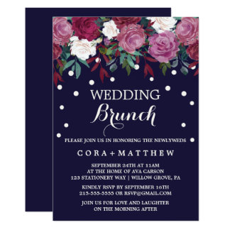 Marsala & Burgundy Floral on Navy Wedding Brunch Card