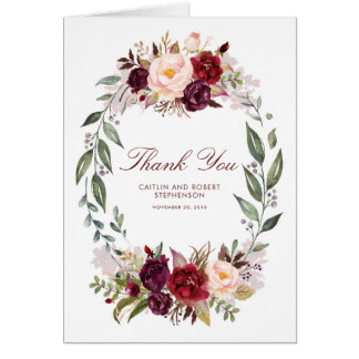 Marsala Burgundy Floral Wedding Thank You Card