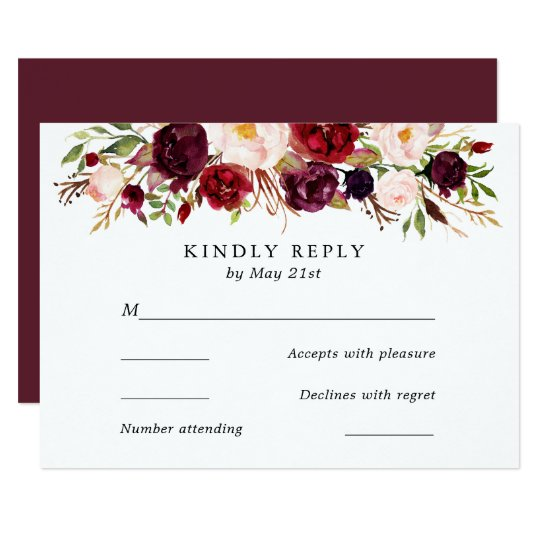 Marsala Burgundy Flowers Wedding RSVP Card