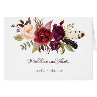 Marsala, Burgundy, Red, White Roses Boho Thank You Card