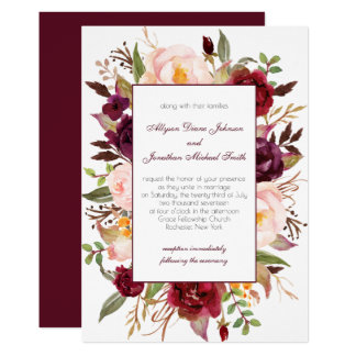 Marsala Burgundy Red White Roses Wedding Invite |