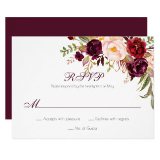 Marsala Burgundy White Red Roses Classic RSVP | Card