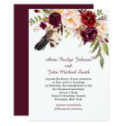 Marsala Burgundy White Roses Feathers Boho Wedding Card