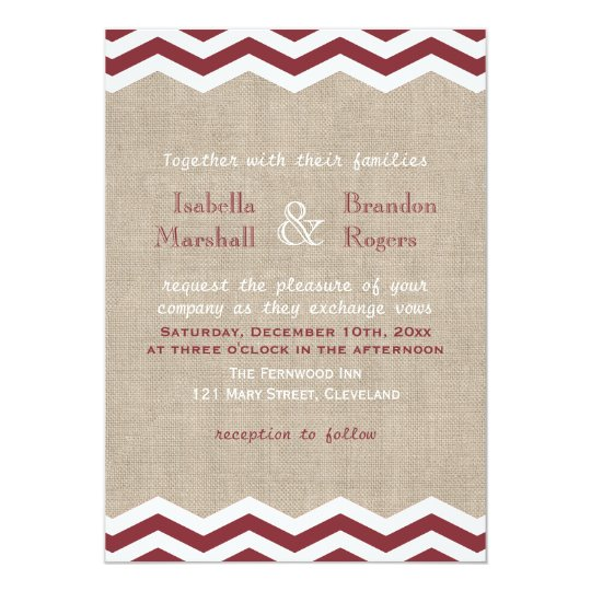 Marsala Chevrons on Burlap Wedding Invitation