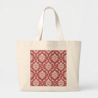 Marsala Classic Damask Pattern Large Tote Bag
