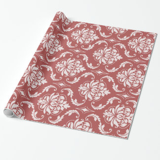 Marsala Classic Damask Pattern Wrapping Paper