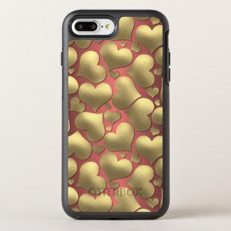 Marsala Faux Shiny Gold Girly Hearts Pattern OtterBox Symmetry iPhone 8 Plus/7 Plus Case