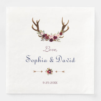 Marsala Floral Antlers Navy Blue Fall Wedding Paper Napkins