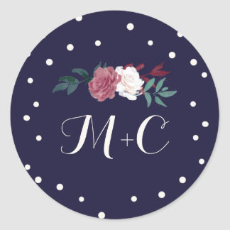 Marsala Floral & Confetti on Navy Envelope Seals Round Sticker