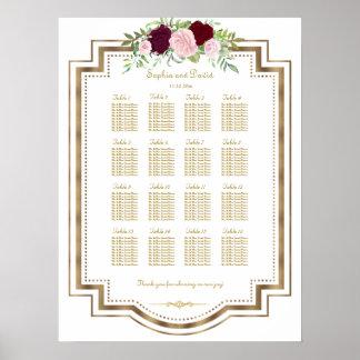 Marsala Floral Gold Wedding Seating Chart
